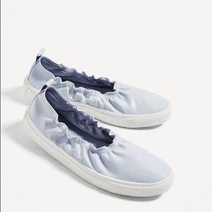 Zara Faux Leather Blue Stretchy Slip On Sneakers